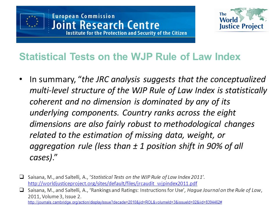 Statistical Tests on the WJP Rule of Law Index