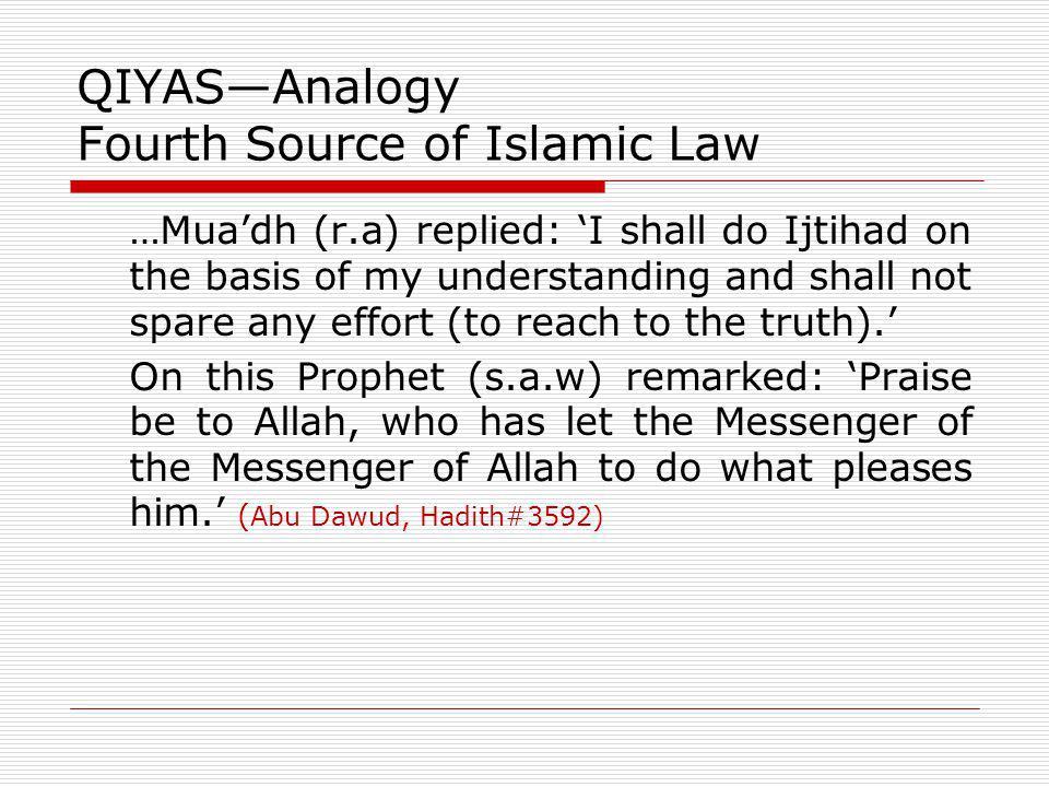 QIYAS—Analogy Fourth Source of Islamic Law