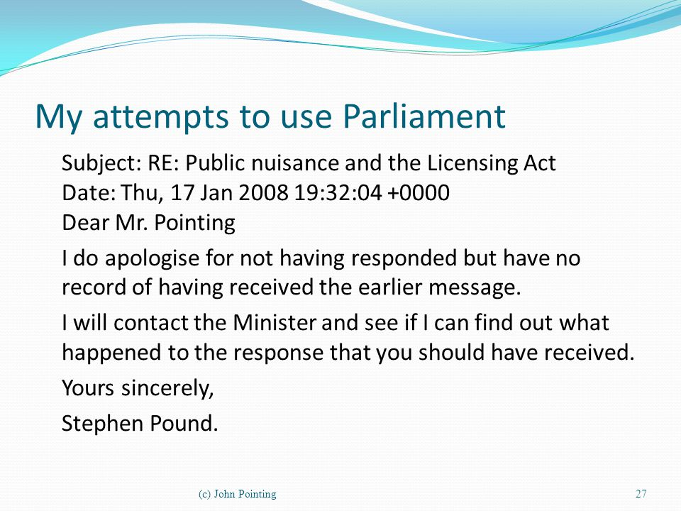 My attempts to use Parliament