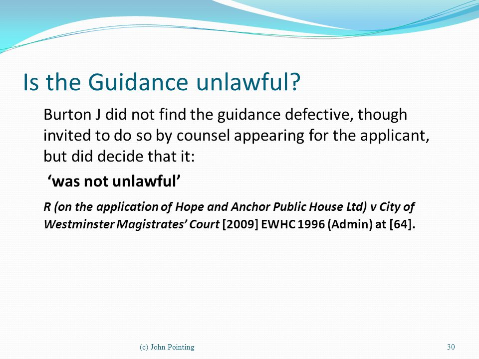 Is the Guidance unlawful