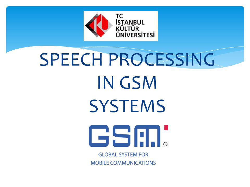SPEECH PROCESSING IN GSM SYSTEMS