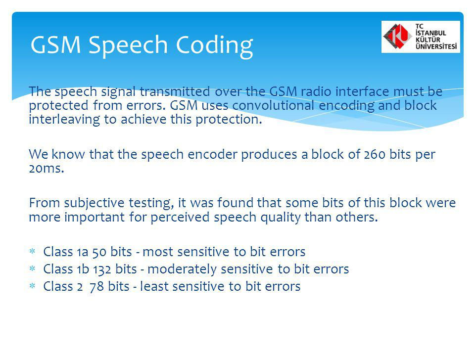 GSM Speech Coding