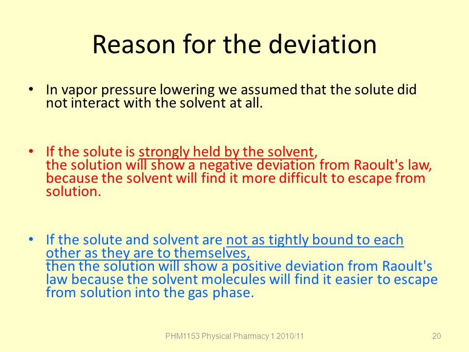 Reason for the deviation
