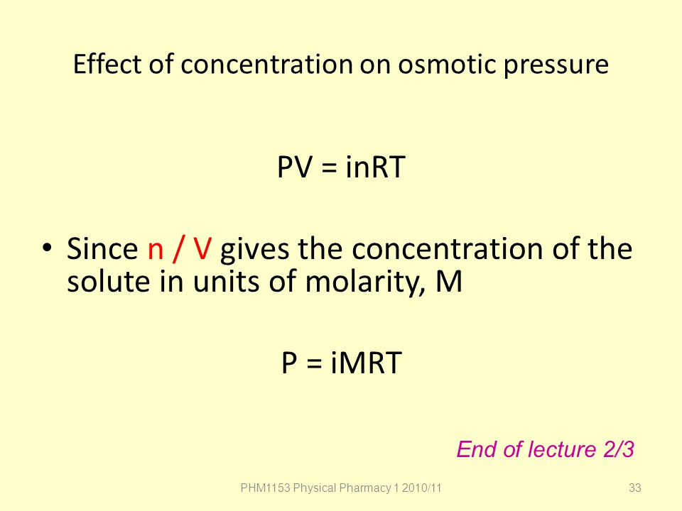 Effect of concentration on osmotic pressure