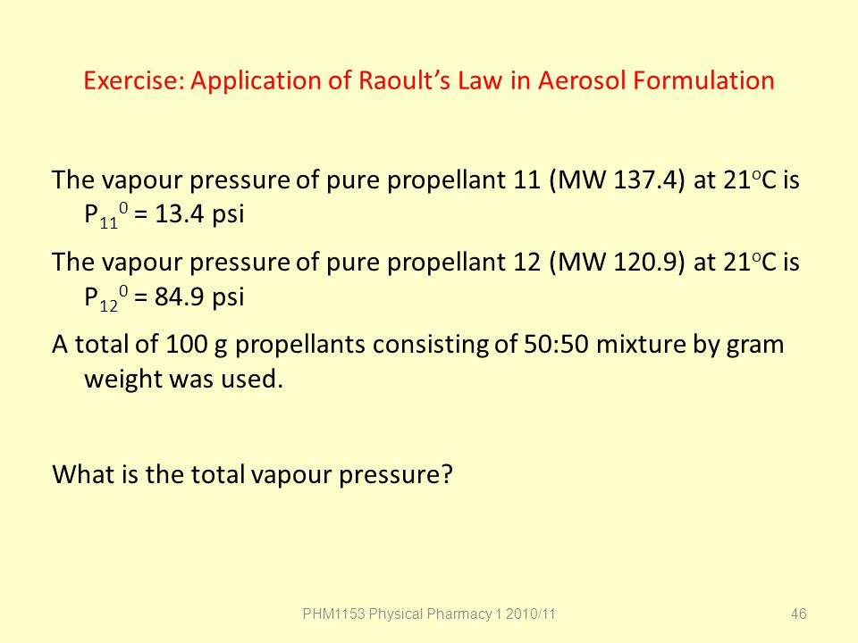 Exercise: Application of Raoult's Law in Aerosol Formulation