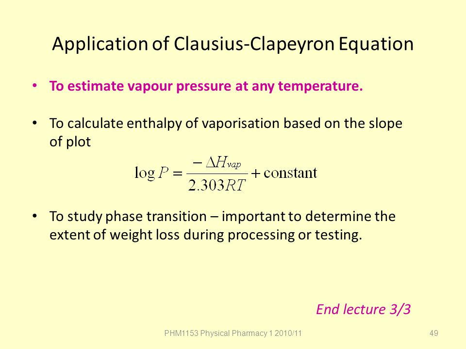 Application of Clausius-Clapeyron Equation