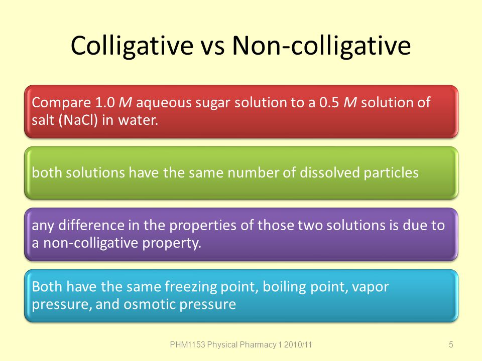 Colligative vs Non-colligative