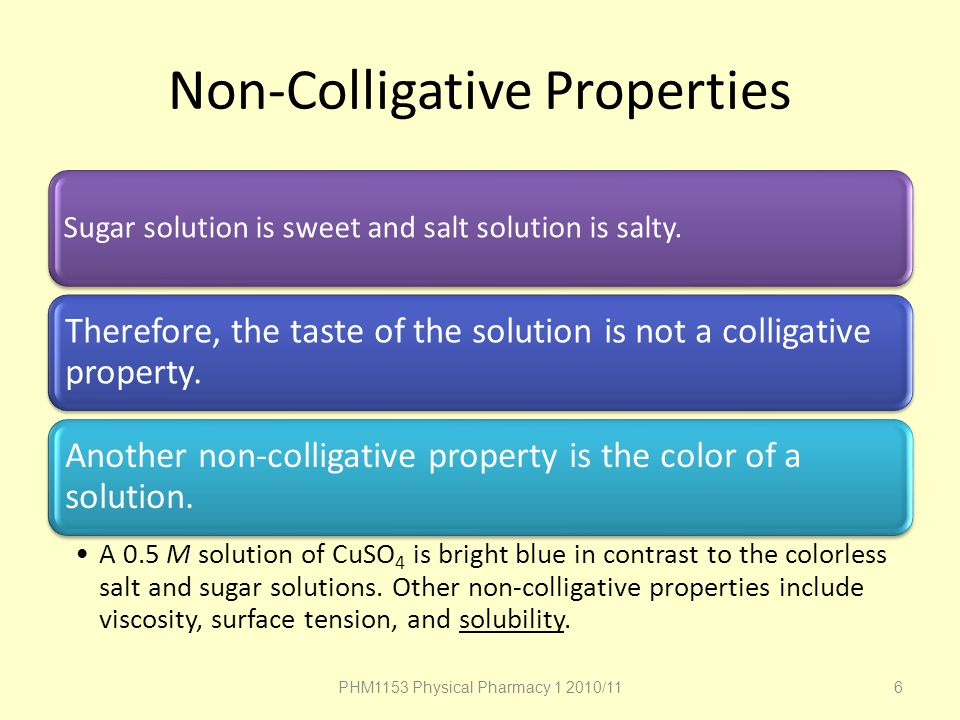 Non-Colligative Properties