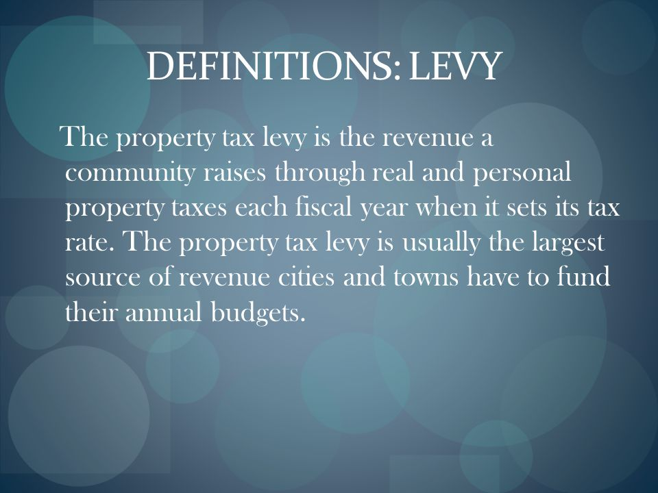 DEFINITIONS: LEVY