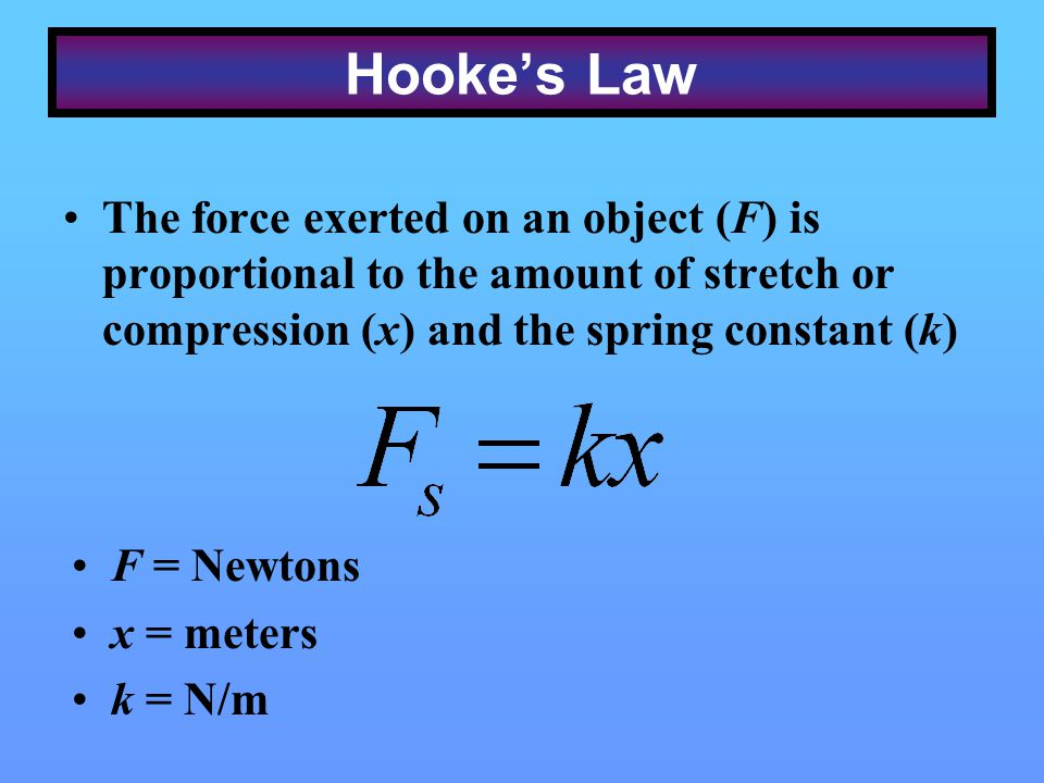 Hooke's Law The force exerted on an object (F) is proportional to the amount of stretch or compression (x) and the spring constant (k)