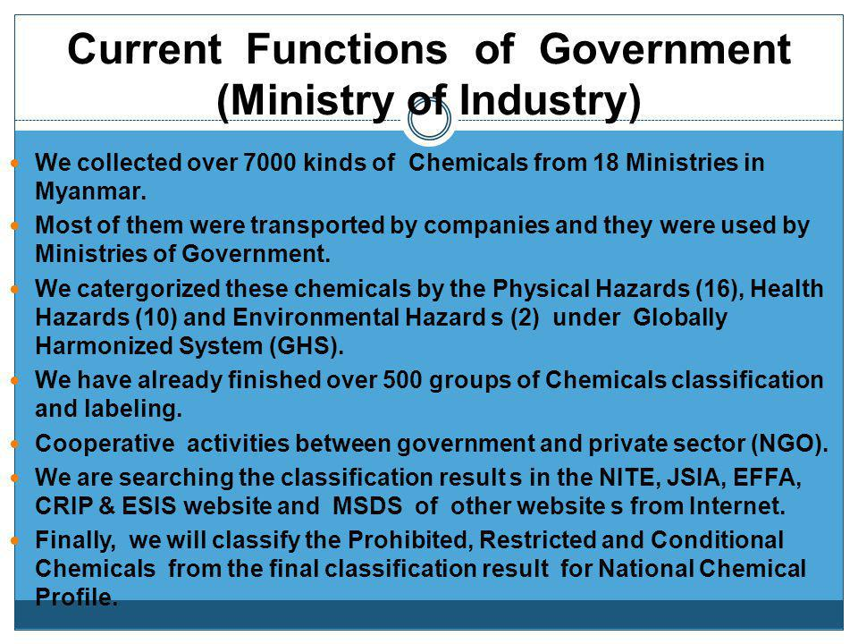 Current Functions of Government (Ministry of Industry)