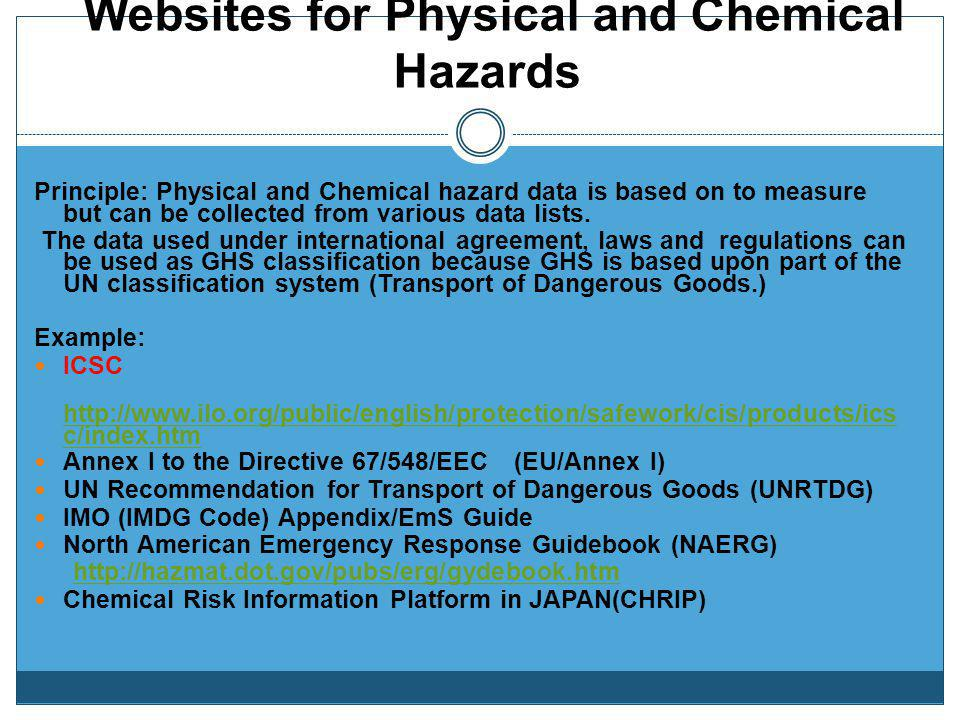 Websites for Physical and Chemical Hazards