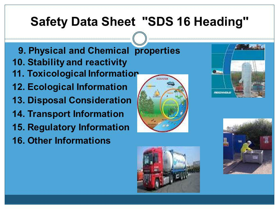Safety Data Sheet SDS 16 Heading