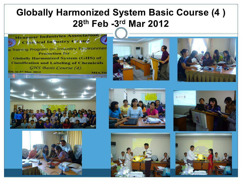 Globally Harmonized System Basic Course (4 ) 28th Feb -3rd Mar 2012