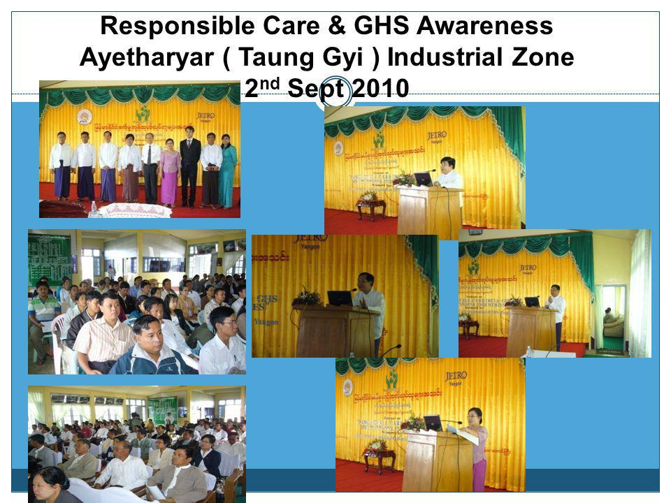 Responsible Care & GHS Awareness Ayetharyar ( Taung Gyi ) Industrial Zone 2nd Sept 2010