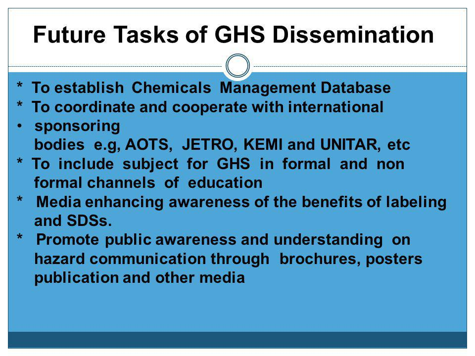 Future Tasks of GHS Dissemination