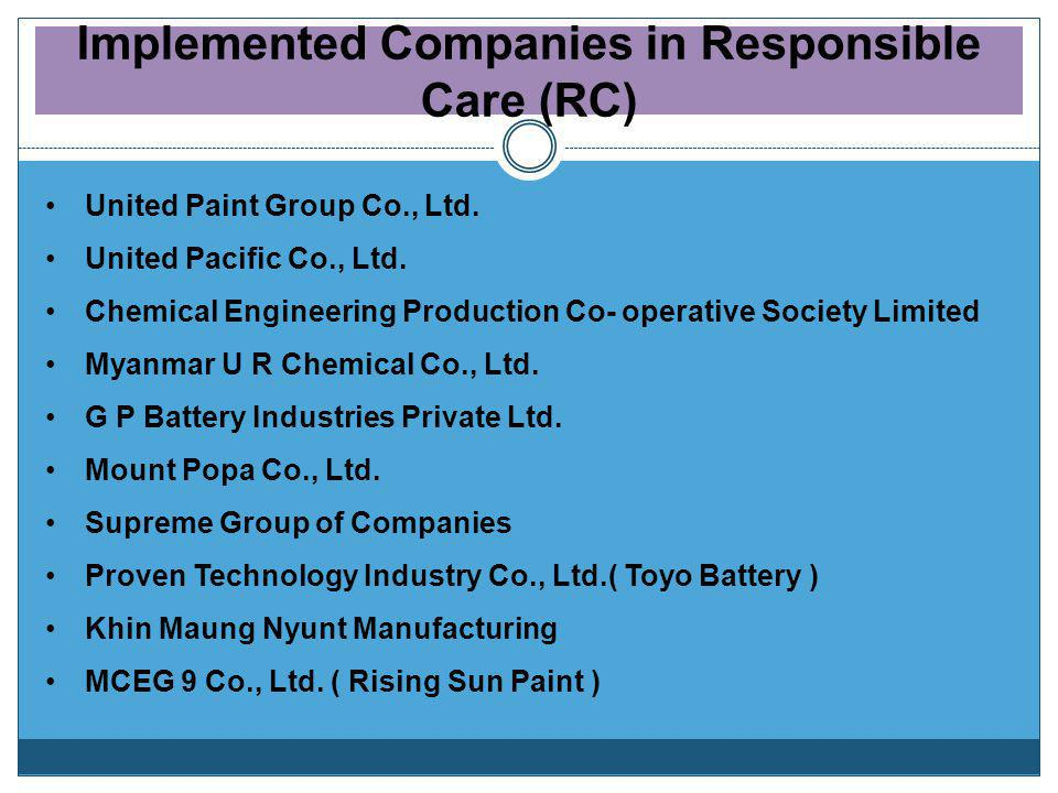 Implemented Companies in Responsible Care (RC)