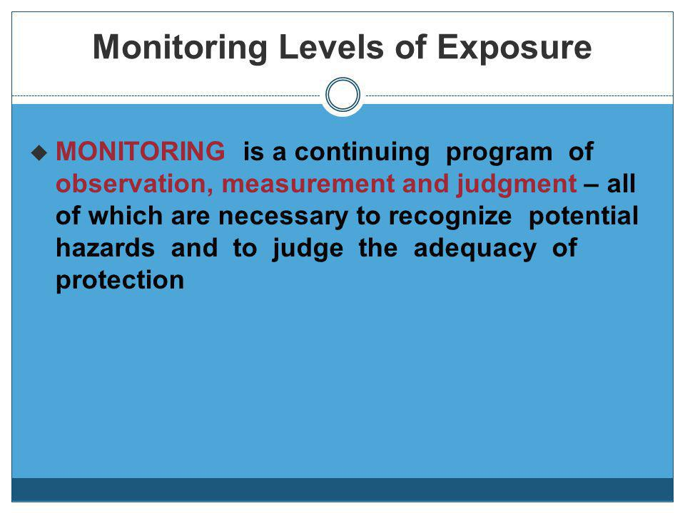 Monitoring Levels of Exposure