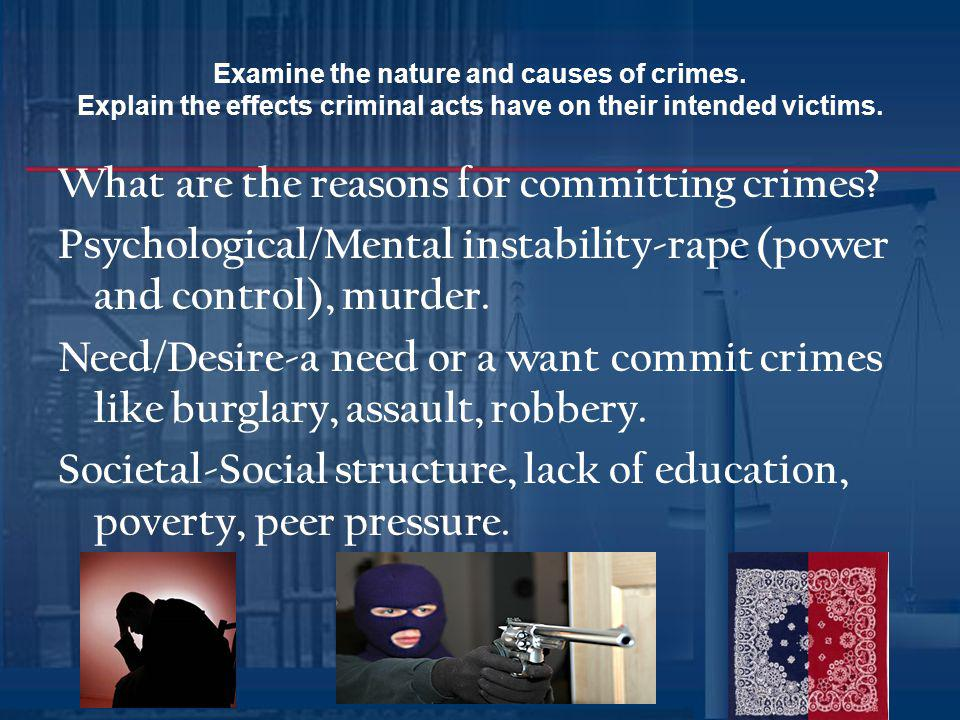 Examine the nature and causes of crimes