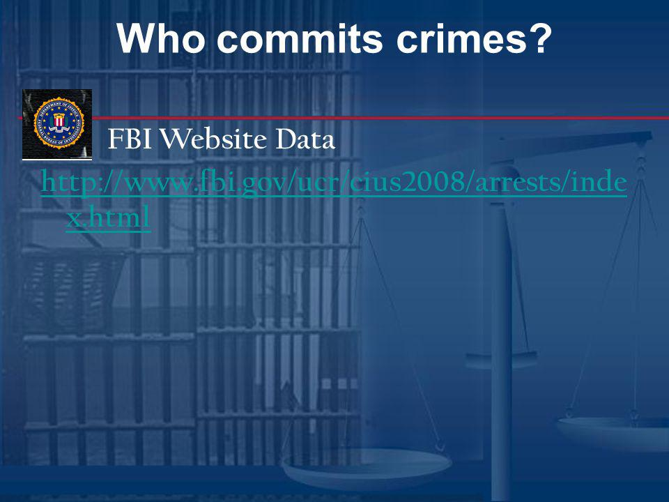 Who commits crimes FBI Website Data http://www.fbi.gov/ucr/cius2008/arrests/index.html
