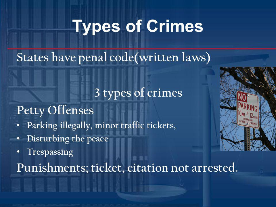 Types of Crimes States have penal code(written laws) 3 types of crimes