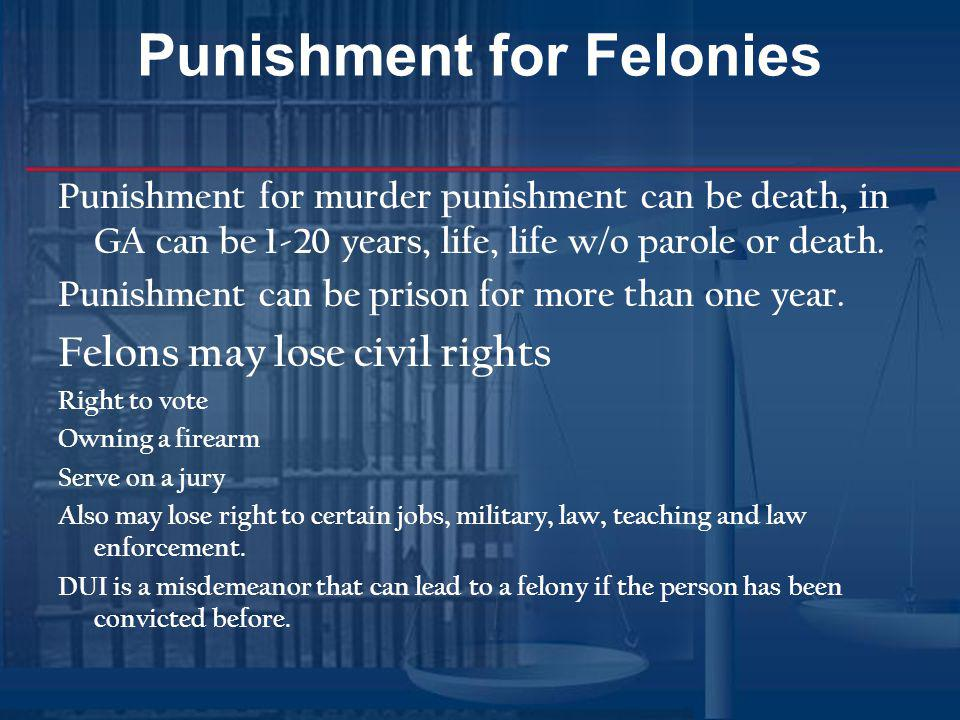 Punishment for Felonies