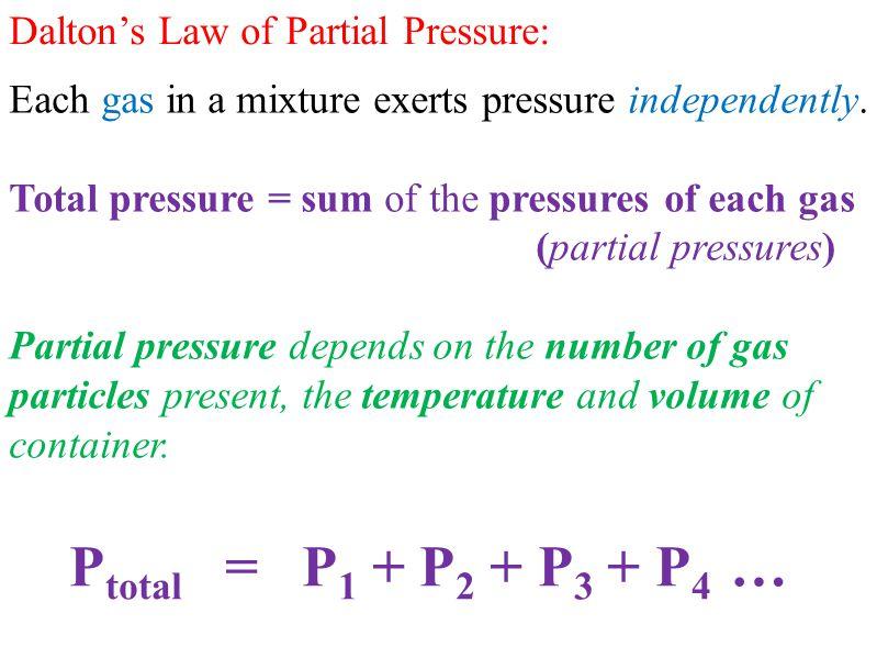 Ptotal = P1 + P2 + P3 + P4 … Dalton's Law of Partial Pressure: