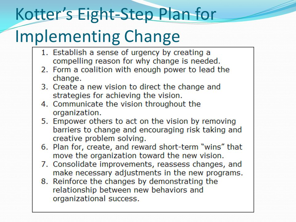 Kotter's Eight-Step Plan for Implementing Change