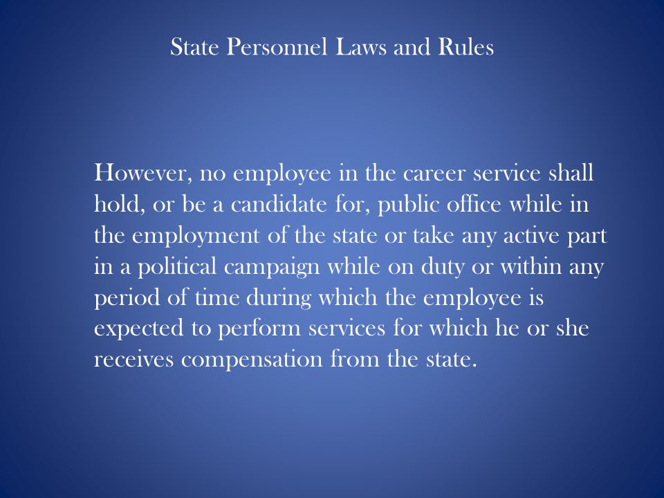 State Personnel Laws and Rules