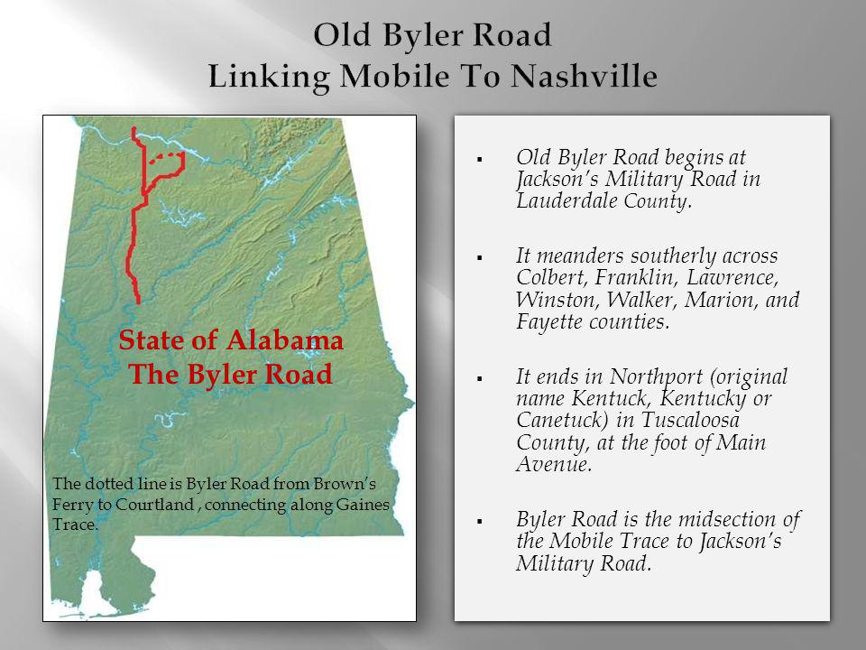 Old Byler Road Linking Mobile To Nashville