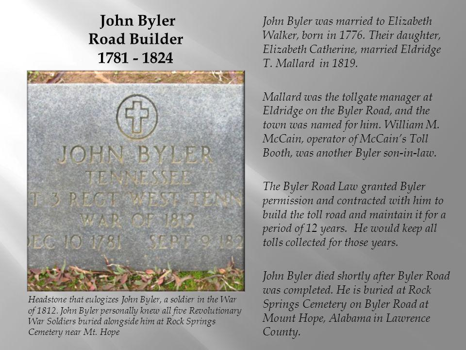 John Byler Road Builder 1781 - 1824