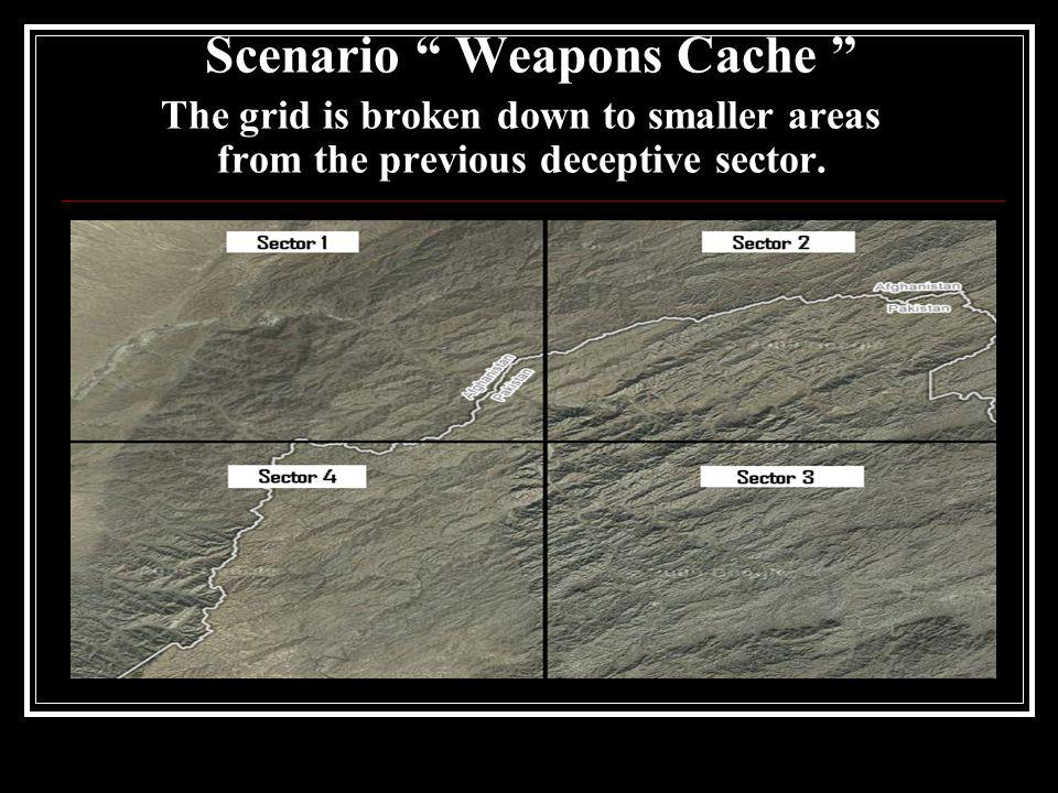 Scenario Weapons Cache The grid is broken down to smaller areas from the previous deceptive sector.