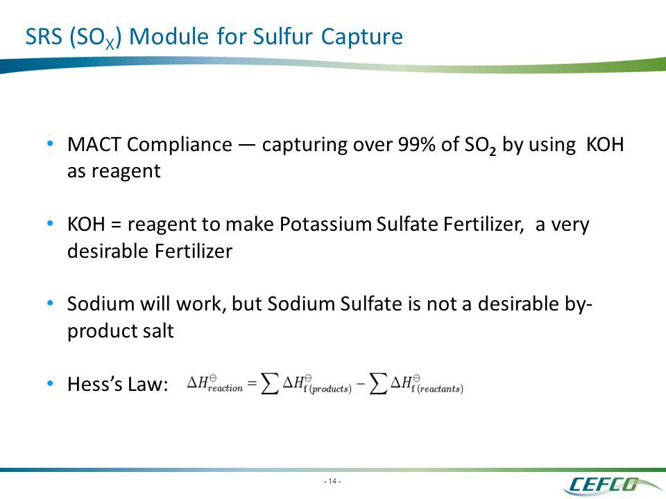 SRS (SOX) Module for Sulfur Capture