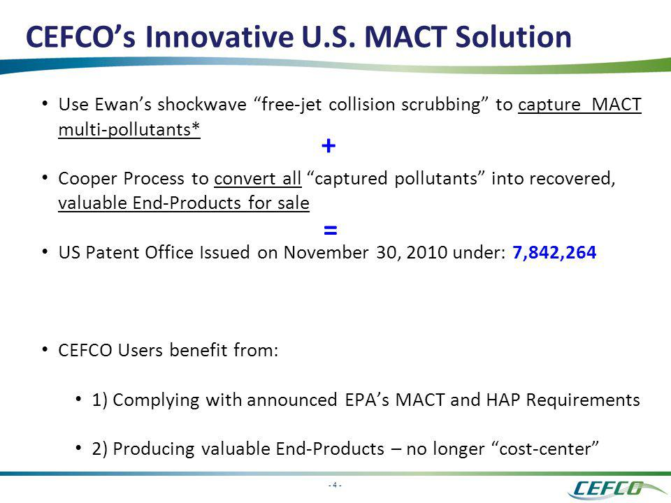 CEFCO's Innovative U.S. MACT Solution