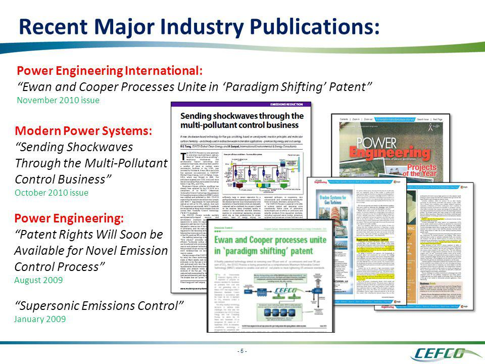 Recent Major Industry Publications: