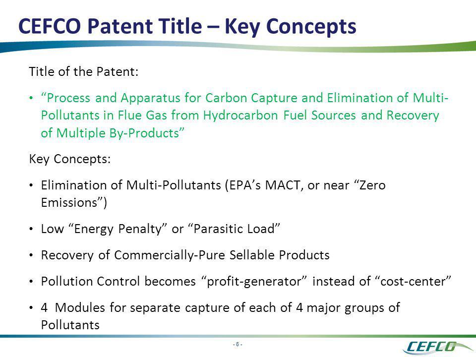 CEFCO Patent Title – Key Concepts