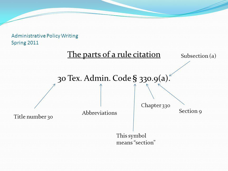 Administrative Policy Writing Spring 2011