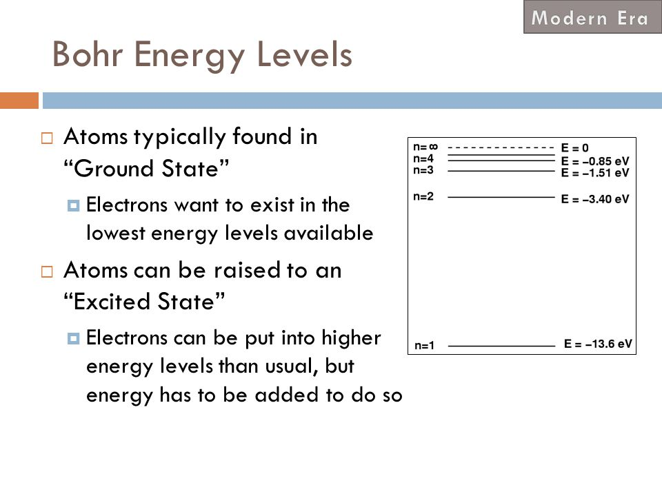 Bohr Energy Levels Atoms typically found in Ground State