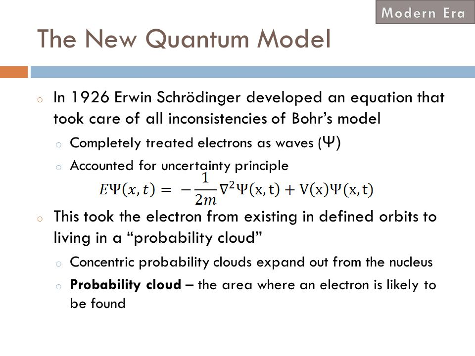 Modern Era The New Quantum Model. In 1926 Erwin Schrödinger developed an equation that took care of all inconsistencies of Bohr's model.