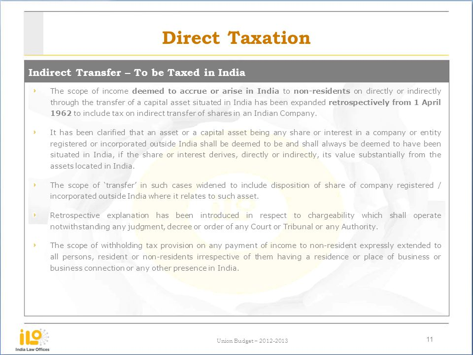 Direct Taxation Indirect Transfer – To be Taxed in India