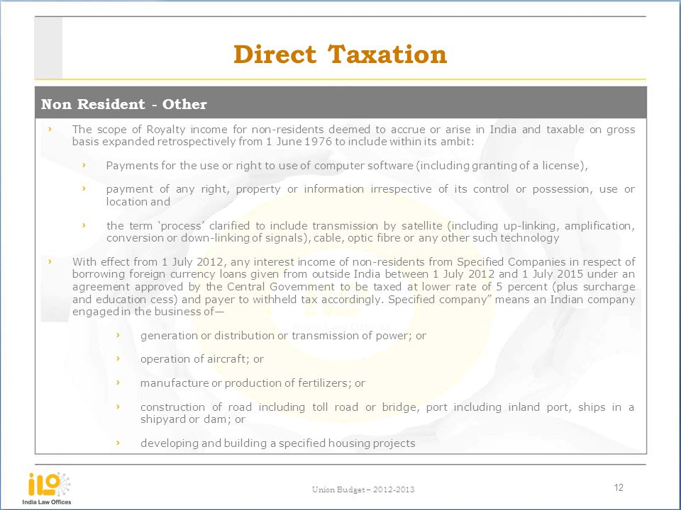 Direct Taxation Non Resident - Other
