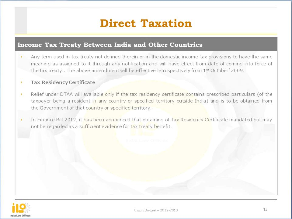 Direct Taxation Income Tax Treaty Between India and Other Countries