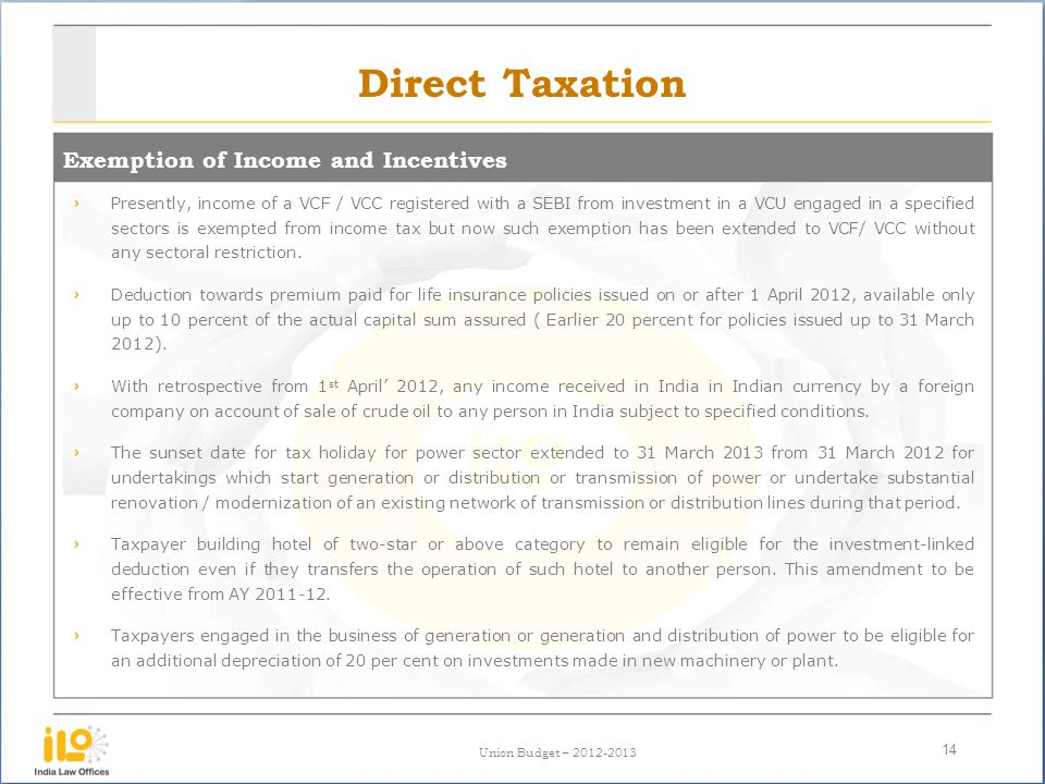 Direct Taxation Exemption of Income and Incentives