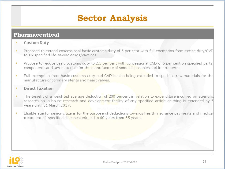 Sector Analysis Pharmaceutical Custom Duty