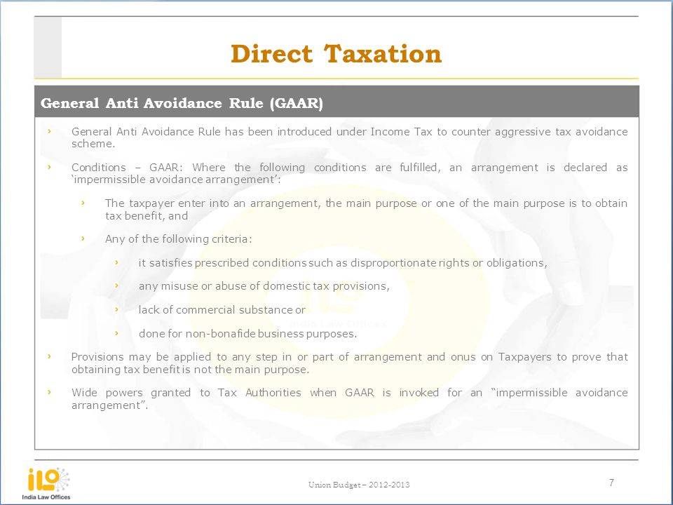 Direct Taxation General Anti Avoidance Rule (GAAR)