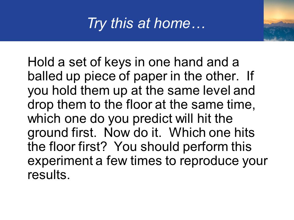 Try this at home…