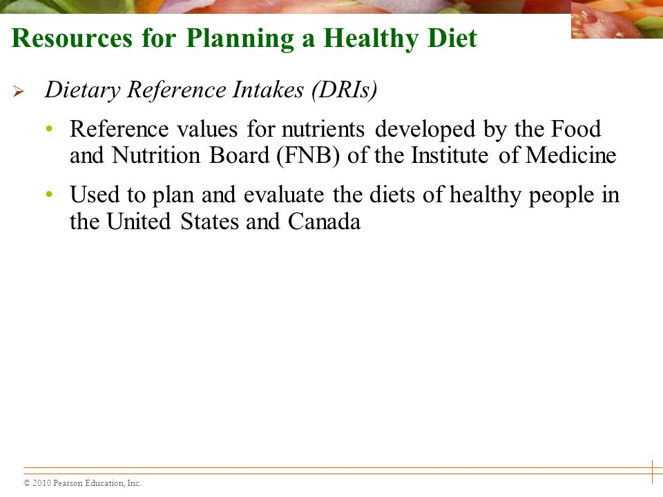 Resources for Planning a Healthy Diet