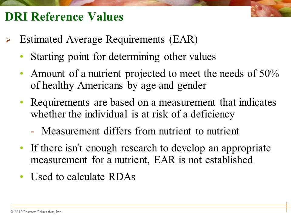 DRI Reference Values Estimated Average Requirements (EAR)