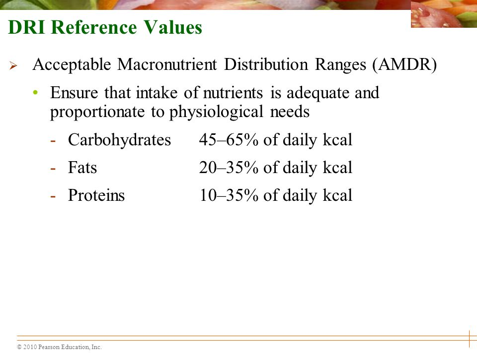 DRI Reference Values Acceptable Macronutrient Distribution Ranges (AMDR)