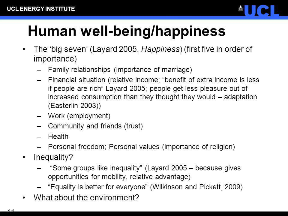 Human well-being/happiness